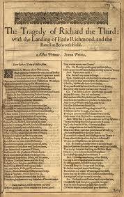 Shakespeare Richard III First Folio