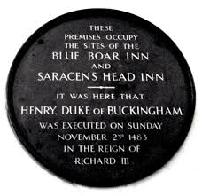 Plaque marking the spot of Buckingham's execution in Salisbury