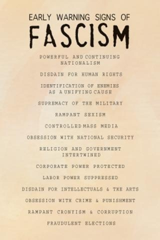 Early Warning Signs of Facism Poster